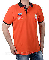 Футболка мужская поло молодежная Rаlph Lauren-105 оранжевая