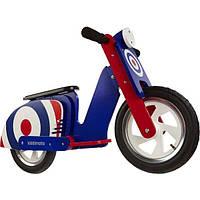 """Беговел KiddiMoto Scooter деревянный, синяя мишень, 12"""""""