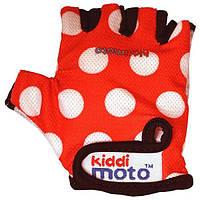 Перчатки детские KiddiMoto красные в белый горошек, размер М, на возраст 4-7 лет