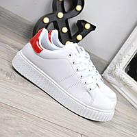 Кроссовки женские Kreeper белые с красным, спортивная обувь