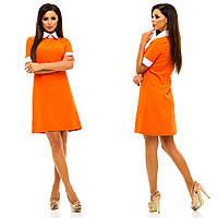 Платье креп-костюмная зеленый, мятный, пудра, оранжевый, бордовый, темно-синий  жа№ 221-10