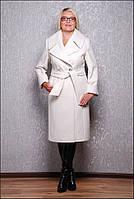 Женское пальто большого размера белое Д 38 Люкс евро длина
