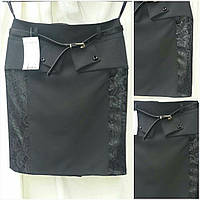 Детская юбка школьная с ажурными вставками, цвет - черный, 38-44 р-ры, 235/175 (цена за 1 шт. + 60 гр.)