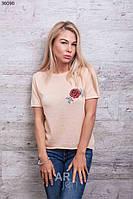 Женская футболка с вышивкой розочка p.44-46 A36090-3