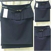 Стильная синяя юбка с подьюпником, 38-44 р-ры, 235/175 (цена за 1 шт. + 60 гр.)