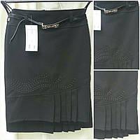 Школьная юбка черного цвета с вышивкой, 36-42 р-ры, 235/175 (цена за 1 шт. + 60 гр.), фото 1