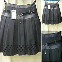 Детская юбка школьная с перфорацией, цвет - черный, 38-46 р-ры, 215/175 (цена за 1 шт. + 40 гр.)