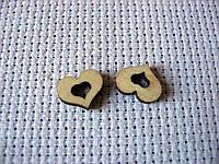 Деревянный декор. Маленькое сердце, 8х15 мм