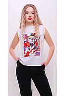 Легкая женская белая футболка без рукавов с ярким принтом Fashion Art