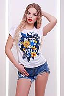 Стильная женская белая футболка с оригинальным принтом Into the wild