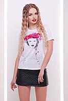 Стильная летняя белая футболка для девушек с ярким принтом Девушка-венок