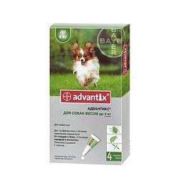 BAYER Advantix Адвантикс для собак вес до 4 кг 1пипетка 0,4мл