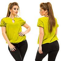"""Женская шифоновая блуза """"Becks"""" с коротким рукавом (большие размеры)"""
