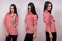 Женская рубашка в среднюю клетку
