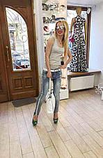 Женские джинсы летние голубые с паетками итальянские , фото 2