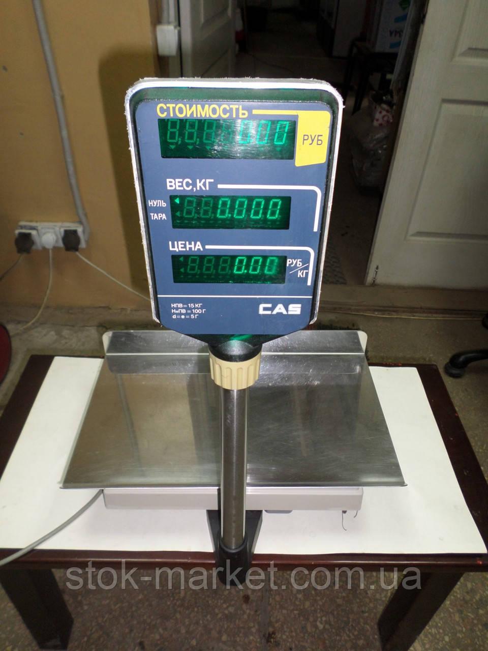 Торговые весы б/у, весы электронные CAS AP-15M до 15 кг, весы на 15 кг, настольные электронные торговые весы.
