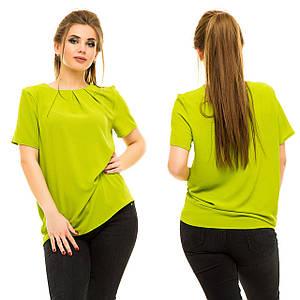 """Летняя шифоновая блуза """"Karry"""" с защипами и коротким рукавом (большие размеры)"""