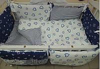 """Постельный набор в детскую кроватку """"Bonna Подарок"""" бело-синие сердечки и звезды"""