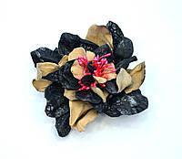 Аксессуар из кожи натуральной брошка заколка цветок Авангард