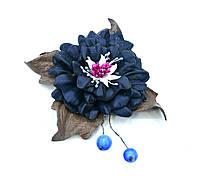 Брошка цветок из кожи украшение ручной работы Глория