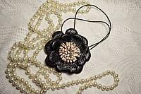 Украшение из кожи натуральной кулон подвеска цветок