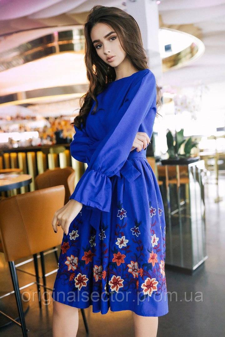 Синий платье розовое цветы