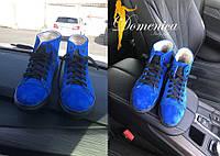 Женские высокие замшевые синие кеды В20400, фото 1