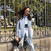 Оригинальное пальто из кашемира с накладными карманами из норки, длина 80 см., фото 1