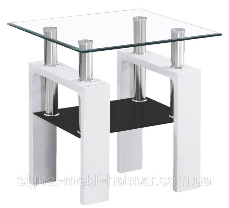 Журнальный столик Lisa D стеклянный: черный лак, белый лак  (SIGNAL)