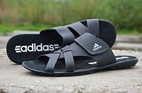 Мужские кожаные шлепанцы Adidas 12119 черные