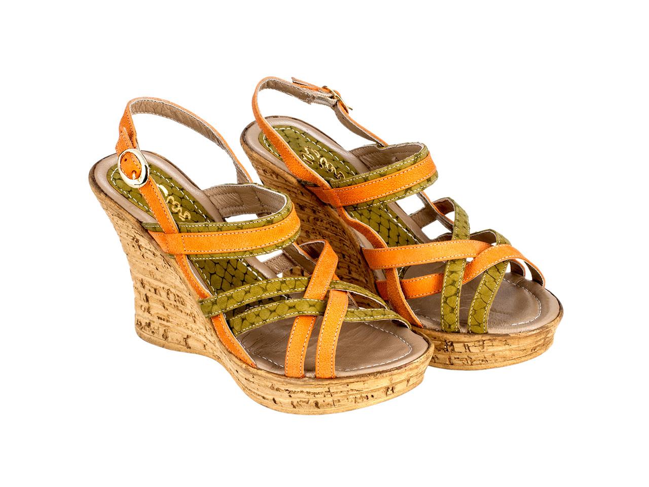 Босоніжки Etor 04-3891 помаранчевий+зелений
