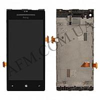 Дисплей (LCD) HTC C620e Windows Phone 8X с сенсором черный + рамка