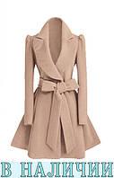 Трендовое расклешенное пальто из кашемира  с широким отложным воротником Cherie