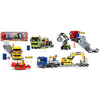 Детский Игровой набор Автотрейлер+строительная техника Dickie
