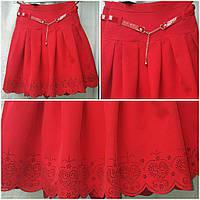 Красная юбка в школу девочке с ремешком, перфорация, 38-44 р-ры, 375/315 (цена за 1 шт. + 60 гр.)