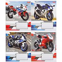 """Тетрадь цветная 12 листов,линия """"Мотоциклы"""""""