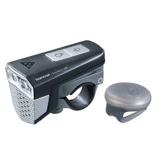 Фара передняя Topeak SoundLite USB с сигналом, чёрная