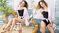 Летняя женская пляжная туника с кружевом