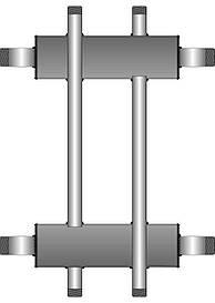 Коллекторная балка  1 контур вверх (вниз) 1 контур вниз (вверх)  до 60 кВт