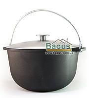Казан чугунный туристический 8л 28см с алюминиевой крышкой и дужкой, посуда чугунная Биол (0708-1)