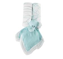 Подарок на рождение (2 пеленки, игрушка-комфортер), Aden&Anais Azure