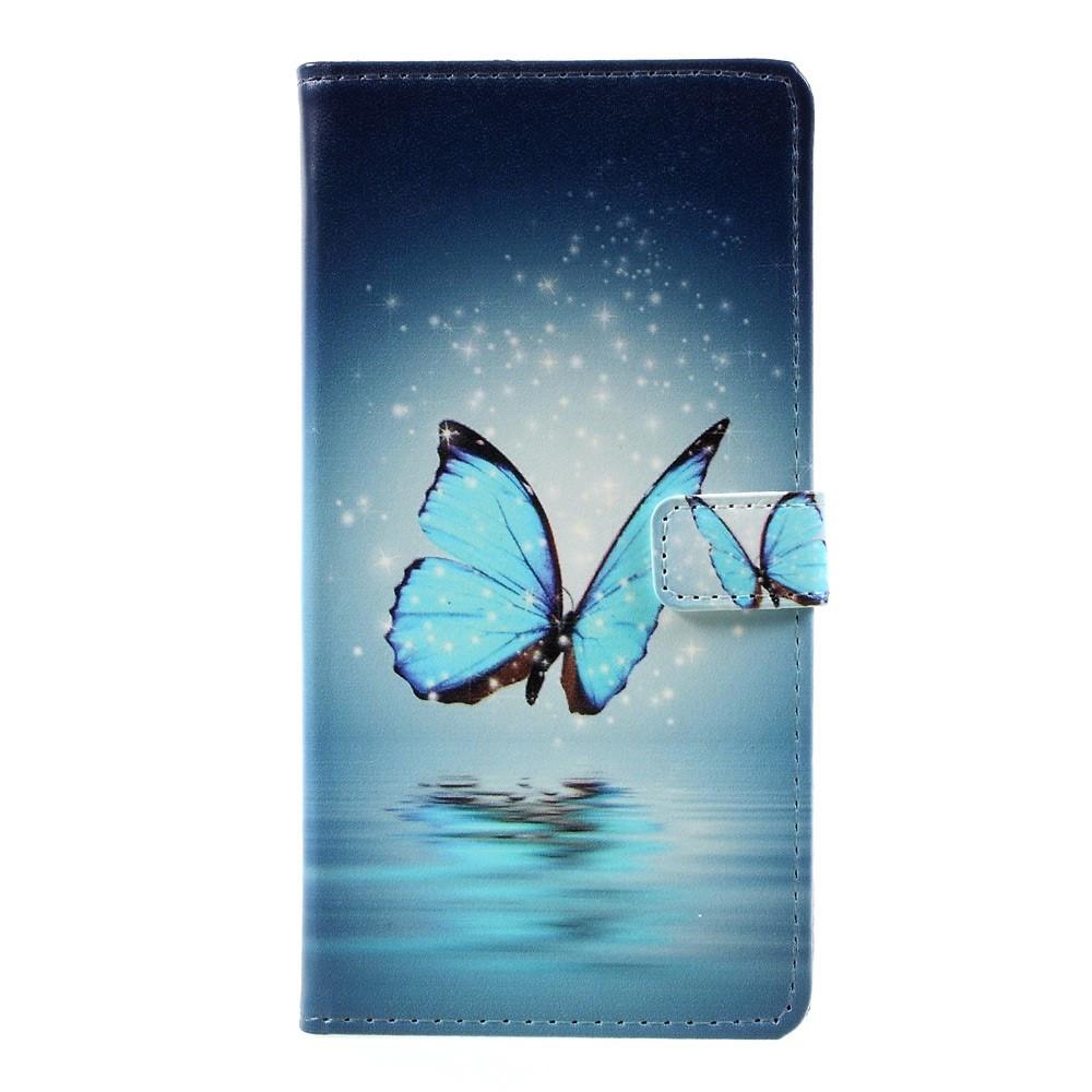 Чехол книжка для Huawei P10 Plus боковой с отсеком для визиток, Голубая бабочка над водой