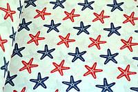 """Польская хлопковая ткань """"морские звезды красно-синие"""""""