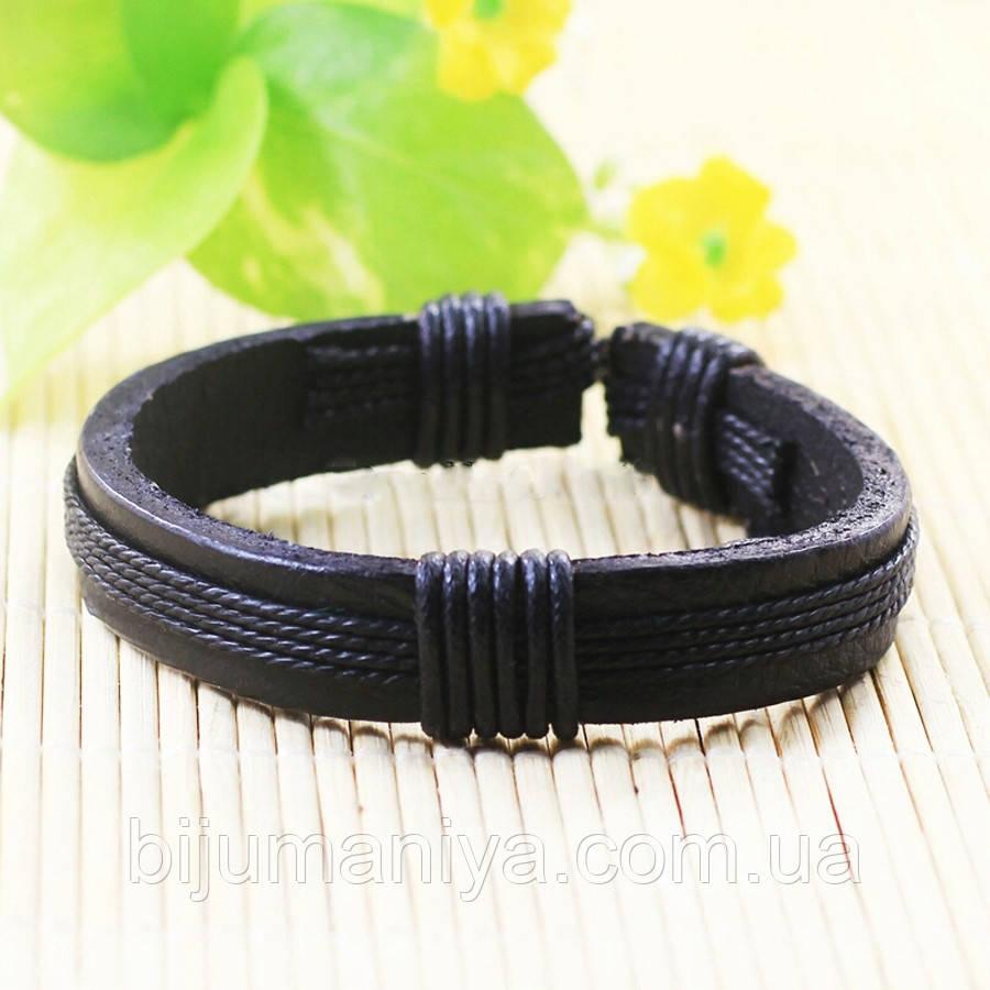 Браслет кожаный черный 6193