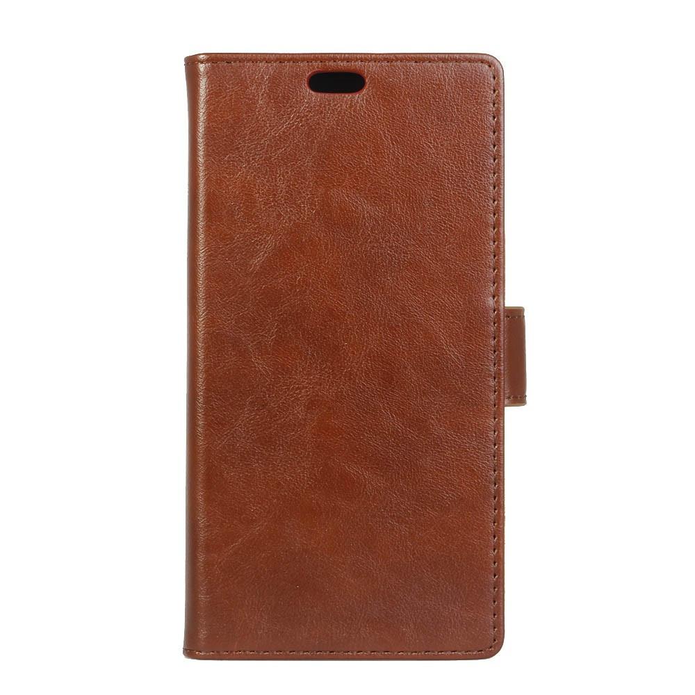 Чехол книжка для Huawei P10 Plus боковой с отверстием под динамик, Гладкая кожа, коричневый