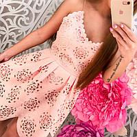 Женское красивое платье/сарафан из перфорированного жаккарда (3 цвета)