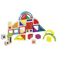 Goki Конструктор деревянный Радужные строительные блоки с окнами 58620, детский блочный конструктор