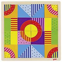 Goki Конструктор деревянный Разноцветный мир 58661, Конструкторы пазлы