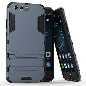 Чехол накладка для Huawei P10 Plus противоударный силиконовый с пластиком, Alien, темно-синий