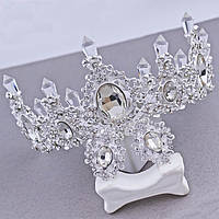 Корона и серьги свадебная высокая диадема Снежная Королева украшений